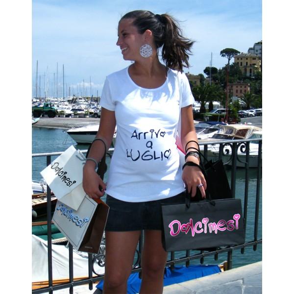 maglietta premaman Arrivo a Luglio